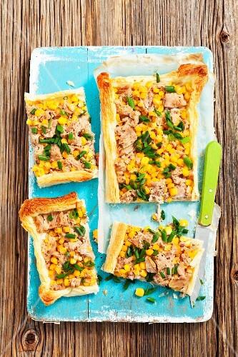 Puff pastry tart with tuna and sweetcorn