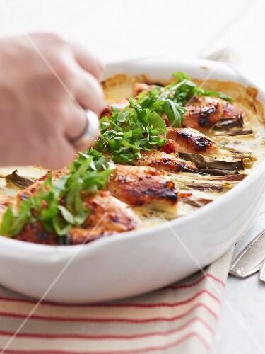 Green chicken curry gratin