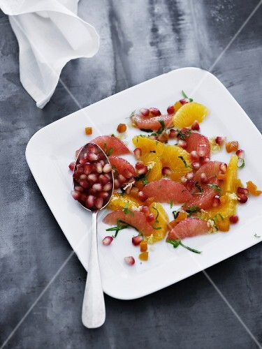 Citrus fruit salad with pomegranate seeds
