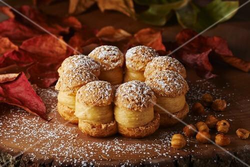 Hazelnut macaroons filled with coffee and hazelnut cream