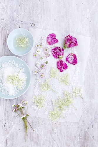 Sugared flowers being made