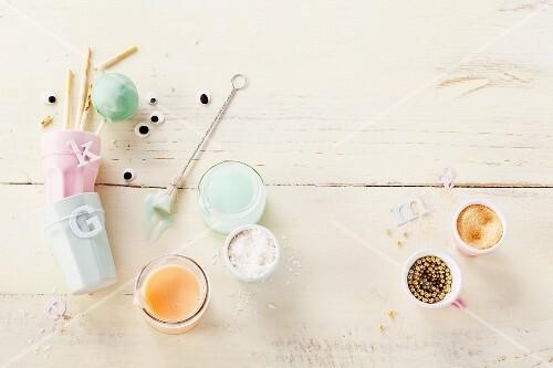 Ingredients for decorating cake pops