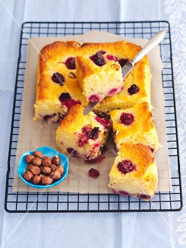 Yogurt cake with sour cherries and hazelnuts