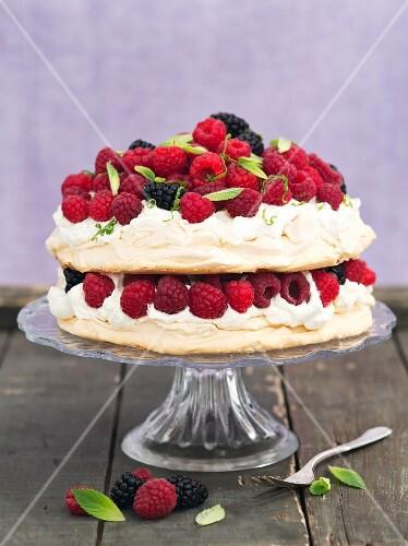 Pavlova with raspberries and blackberries