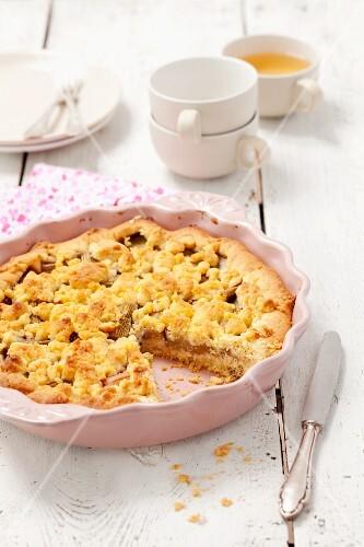 Rhubarb crumble cake, sliced