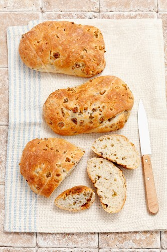 Homemade ciabatta with green olives