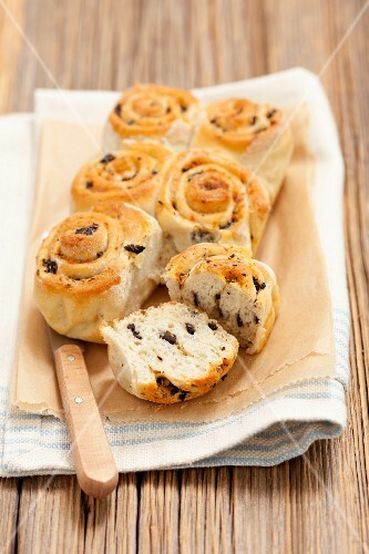 Homemade olive buns