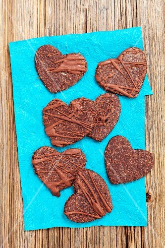 Heart-shaped wholemeal chocolate biscuits (seen from above)