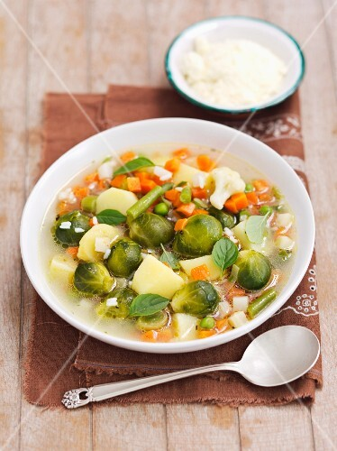 Vegetable soup with rice and Parmesan