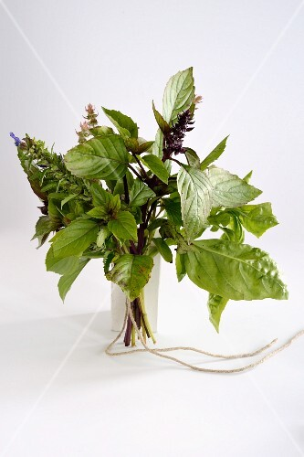 A bunch of herbs against a white background
