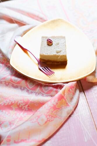 Vegan tofu cake made with rosewater, agar-agar, soy milk, honey, gingerbread and coconut oil