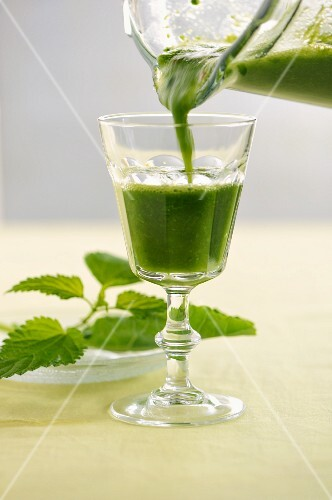 A smoothie made with pineapple, stinging nettles, kohlrabi and chilli