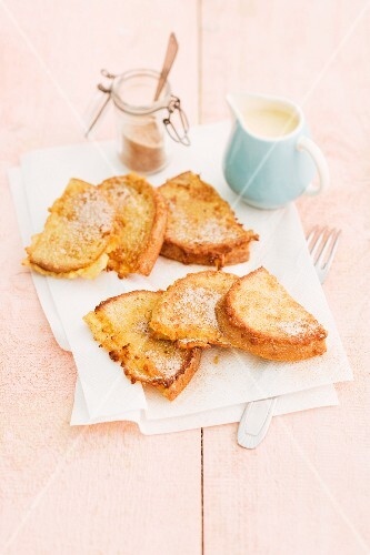 French toast with cinnamon sugar and vanilla sauce
