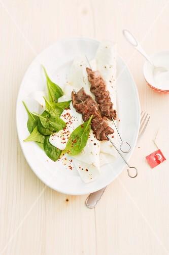 Lamb kebabs on yufka dough (Turkey)