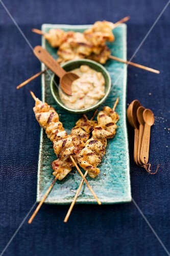 Chicken satay kebabs with a peanut dip