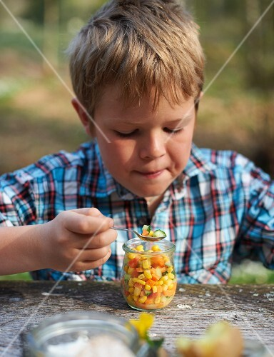 Carrot and cucumber salad with sweetcorn for spring picnic