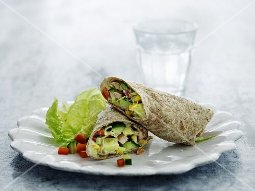 Wraps with chicken and vegetables for lunch