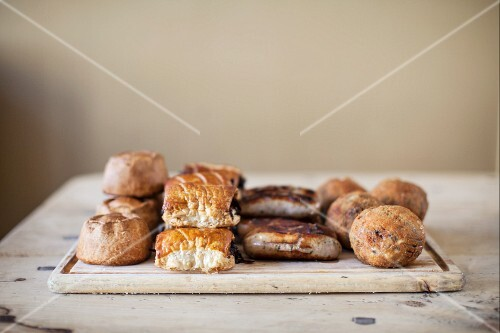 Meat pies, sausage rolls, sausages and Scotch eggs