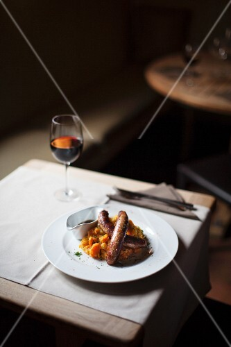 Belgian sausages with vegetable purée