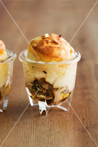 Potato bake with porcini mushrooms served in a glass