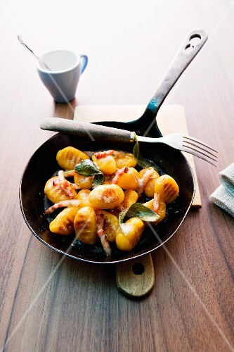 Pumpkin gnocchi with bacon and sage