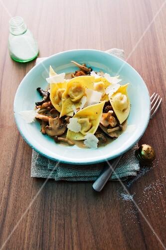 Pumpkin tortellini with mushrooms and Parmesan