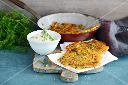 Courgette pancakes with dip
