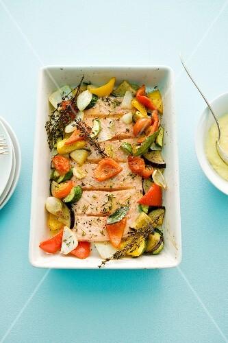 Salmon with Mediterranean vegetables