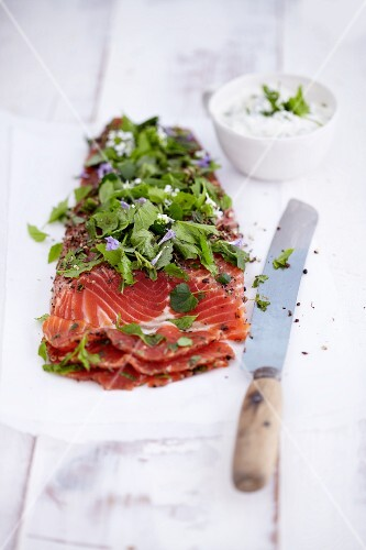 Pickled fjord trout with fresh herbs
