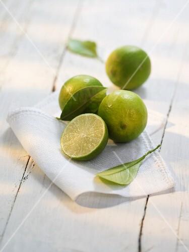 Limes on a cloth