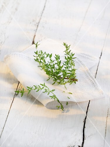 Fresh thyme on a cloth