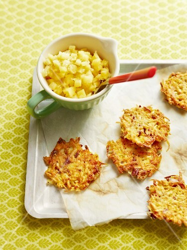 Vegetables cakes with onion and apple compote