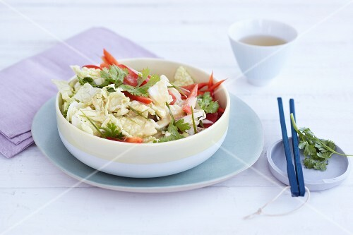 Chinese cabbage salad with pepper and coriander