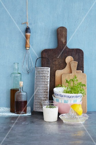 An arrangement of kitchen utensils and ingredients