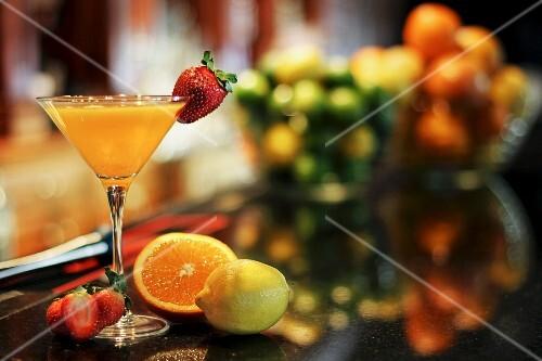 Strawberry and orange Martini