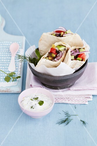 Pita bread filled with salad