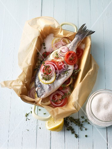 Seabream in a salt crust ready to fry