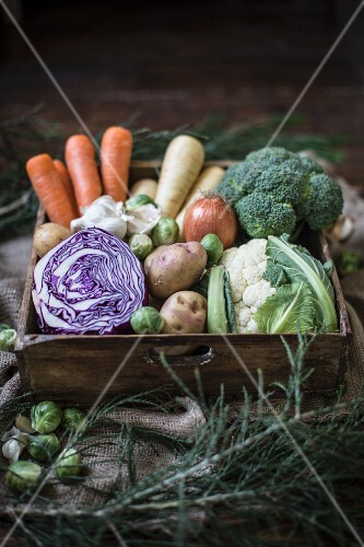 A vegetable box with red cabbage, potatoes, Brussels sprouts, carrots, parsnips, broccoli, cauliflower and onions
