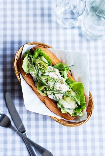 A crab roll with lettuce