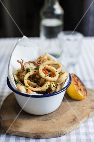 Calamari with grilled lemon