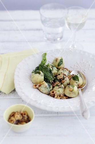 Saltbush gnocchi with nuts