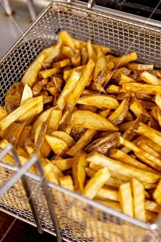 Chips in a frying basket
