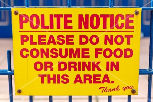 A yellow warning sign