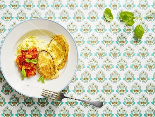 Aubergine piccata with spaghetti