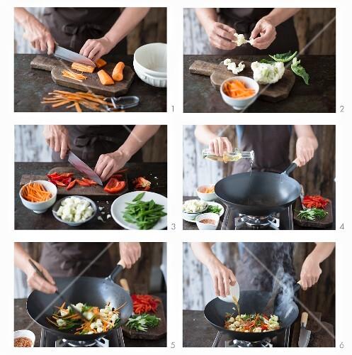 Cooking vegetables in wok