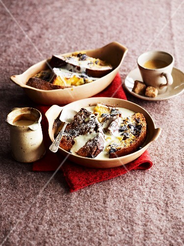 Bread-and-butter pudding made with panettone and chocolate (England)