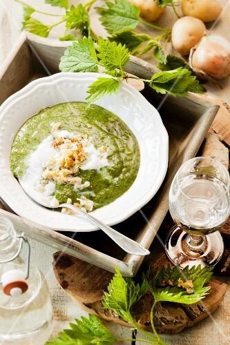 Stinging nettle and potato soup