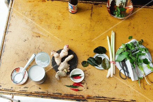 Arrangement of ingredients and spices for Thai dishes