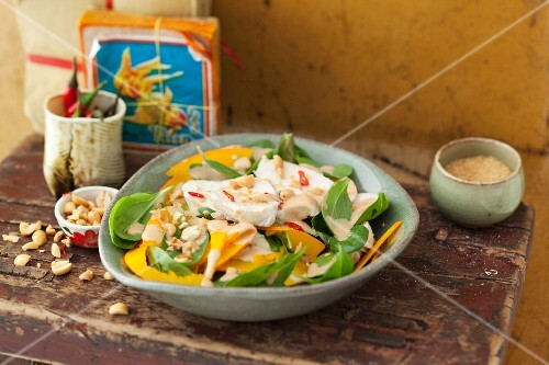 Spinach salad with chicken, mango and peanuts (Thailand)