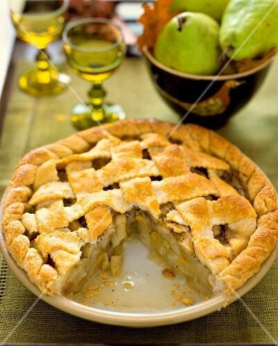 An autumnal pear pie, sliced